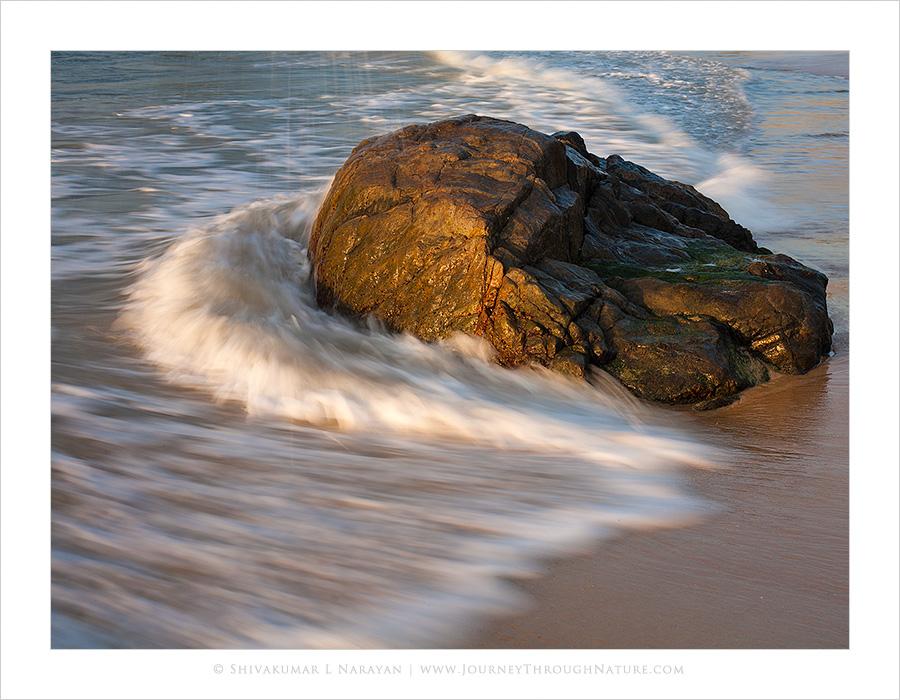 Waves hitting rock