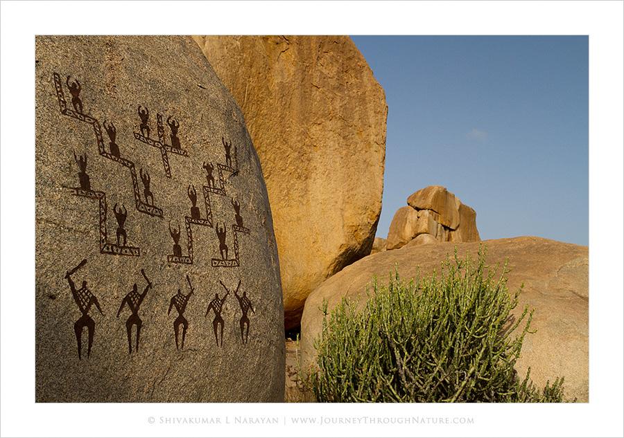 Grafiti work on Hampi boulders