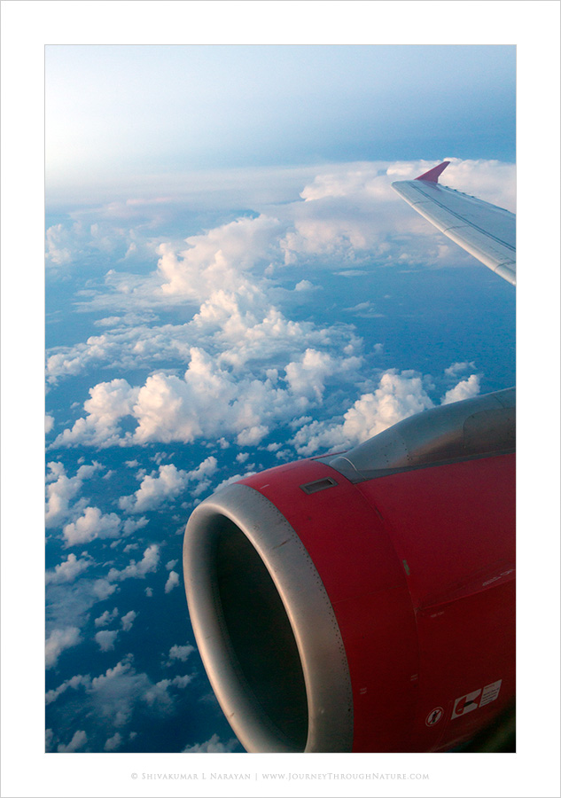 View of clouds from aeroplane