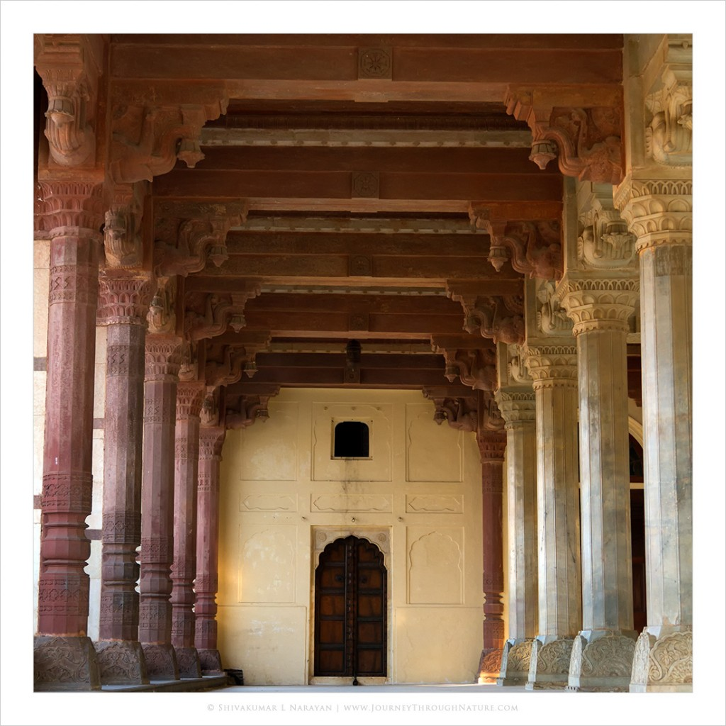 Pillars inside Amer Fort Jaipur