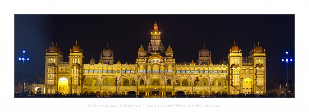 Panoramic image of Mysore Palace at Night