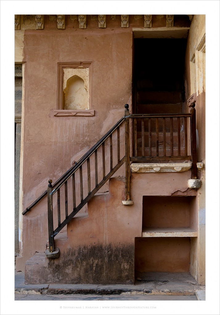 Old wooden stairs at Amer Fort, Jaipur