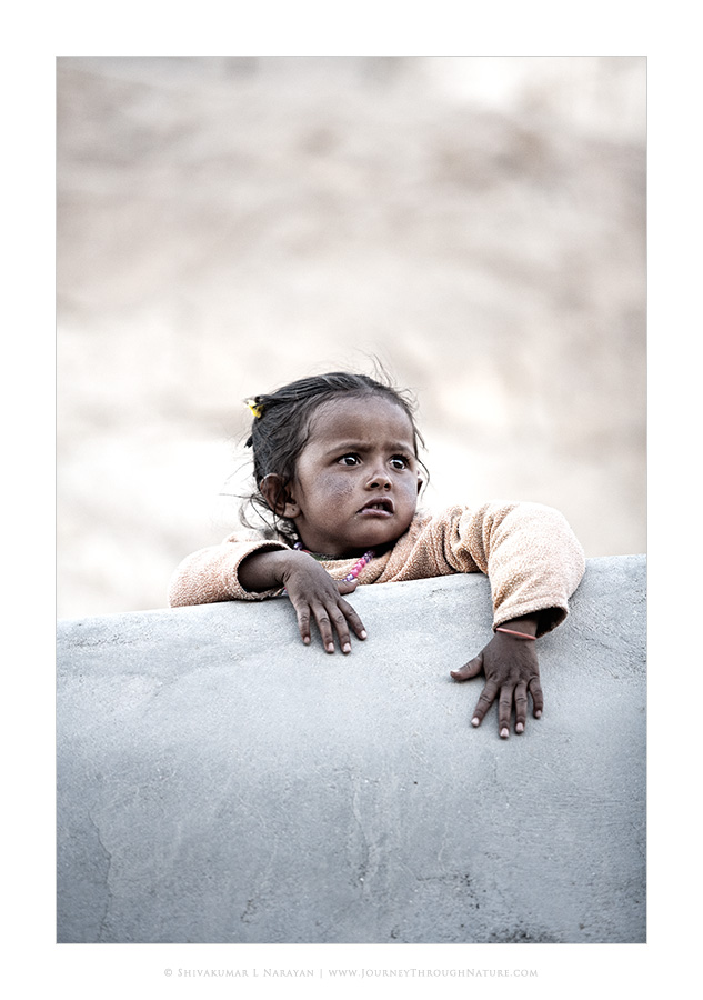 Photograph of a kid from Ladakh monastery