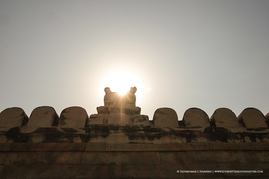 Sun burst from Lepakshi Temple