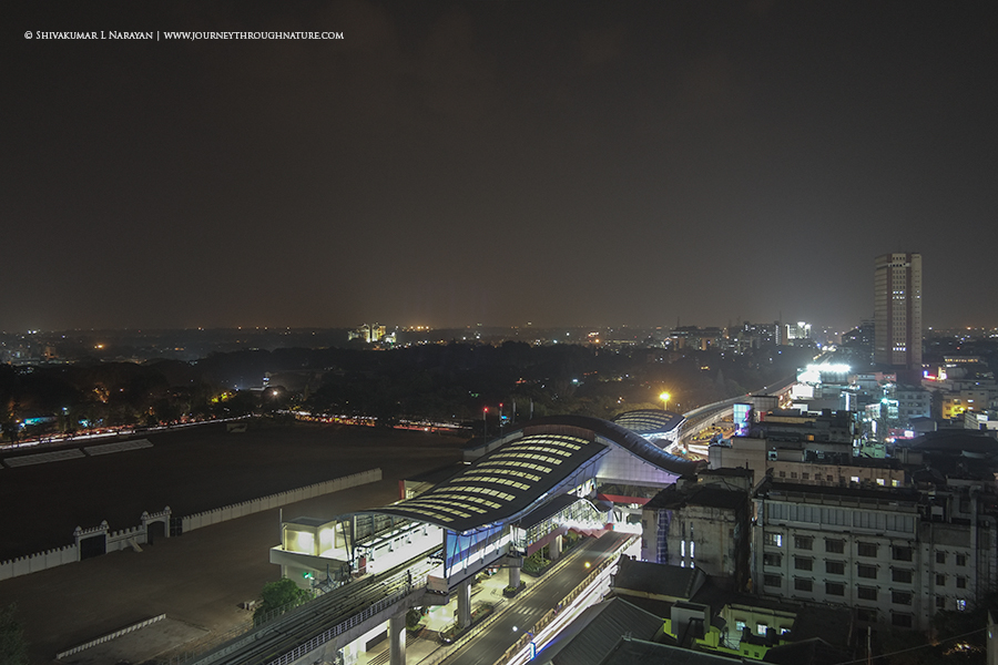 Night life of MG Road Bangalore from Ebony Hotel