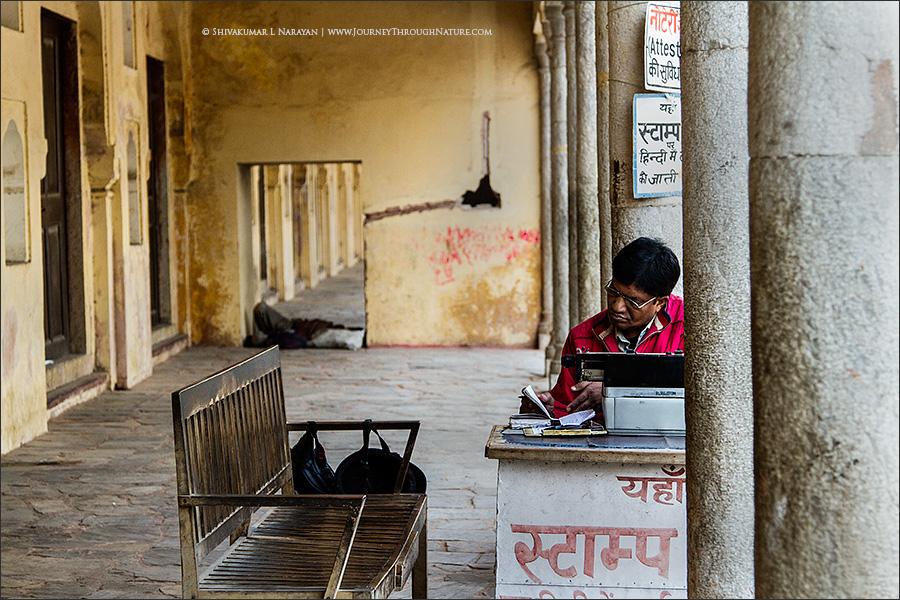 Stamp Paper Vendor in Jaipur City Palace