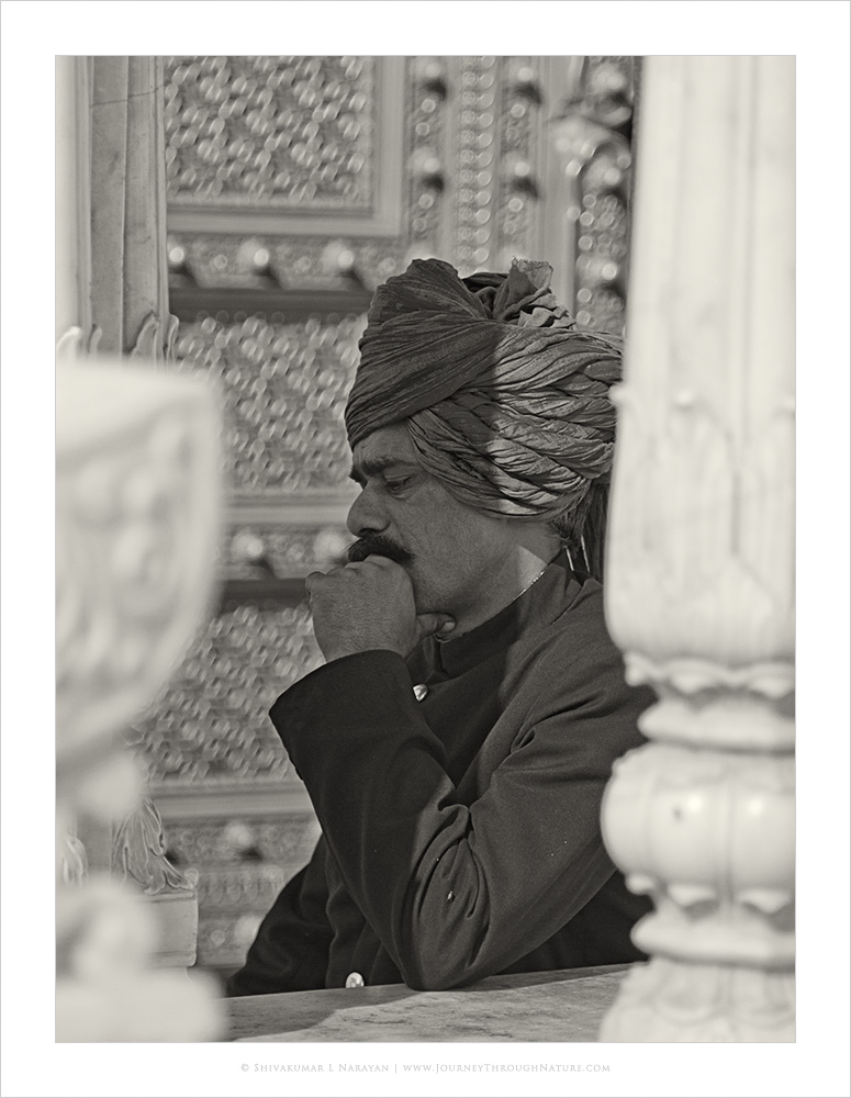 Turban wearing guard at Jaipur City Palace