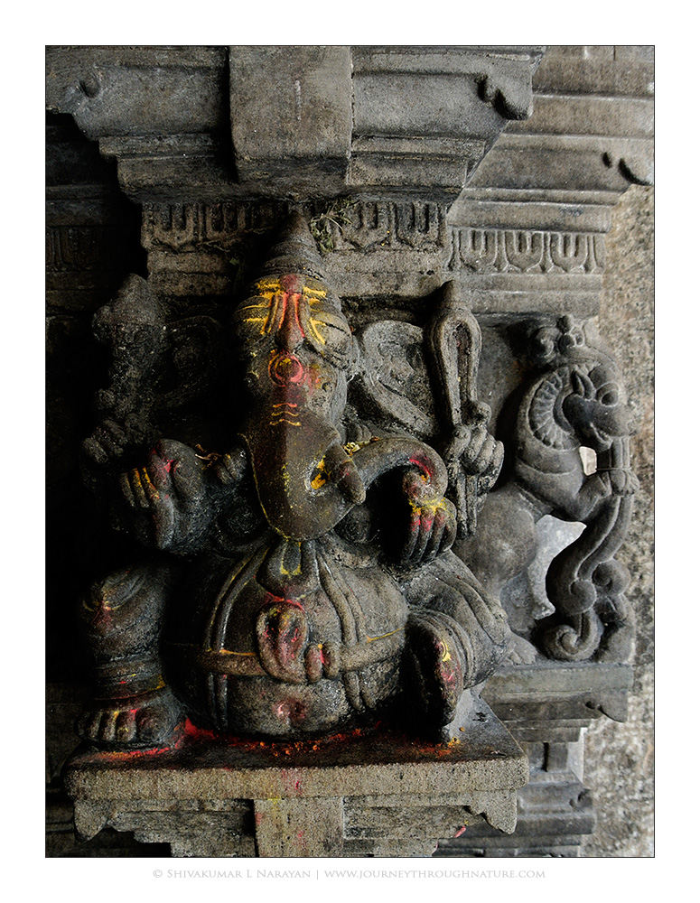 Stone carving of Ganapati on a pillar in Melukote