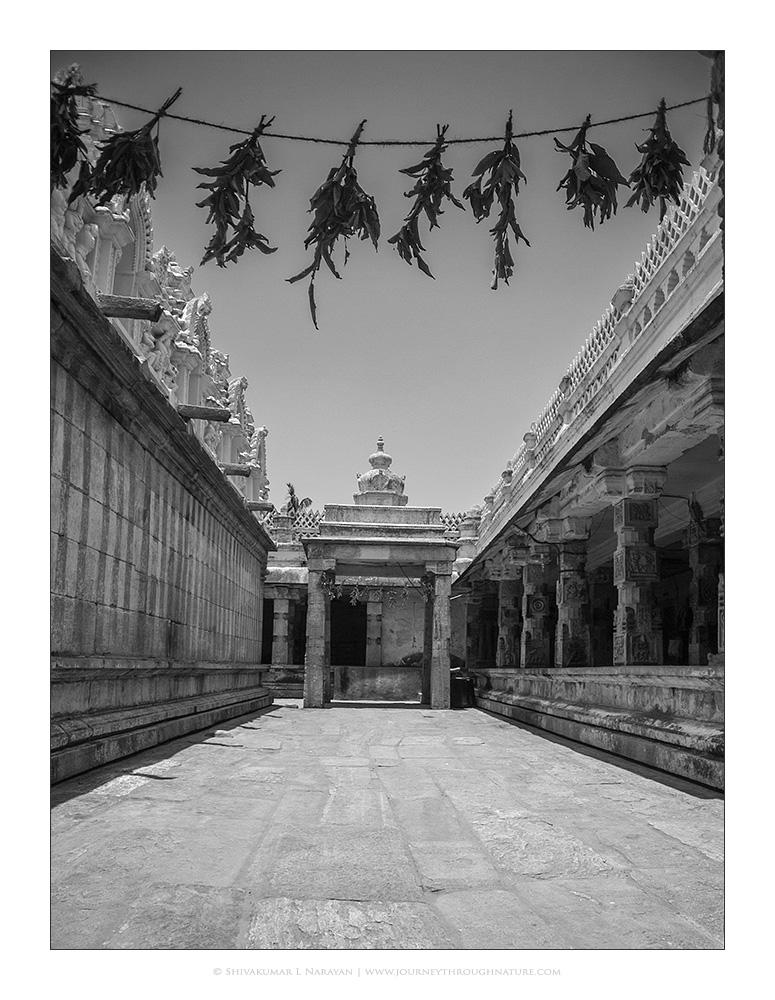 Pillars and gopura in the Melukote temple
