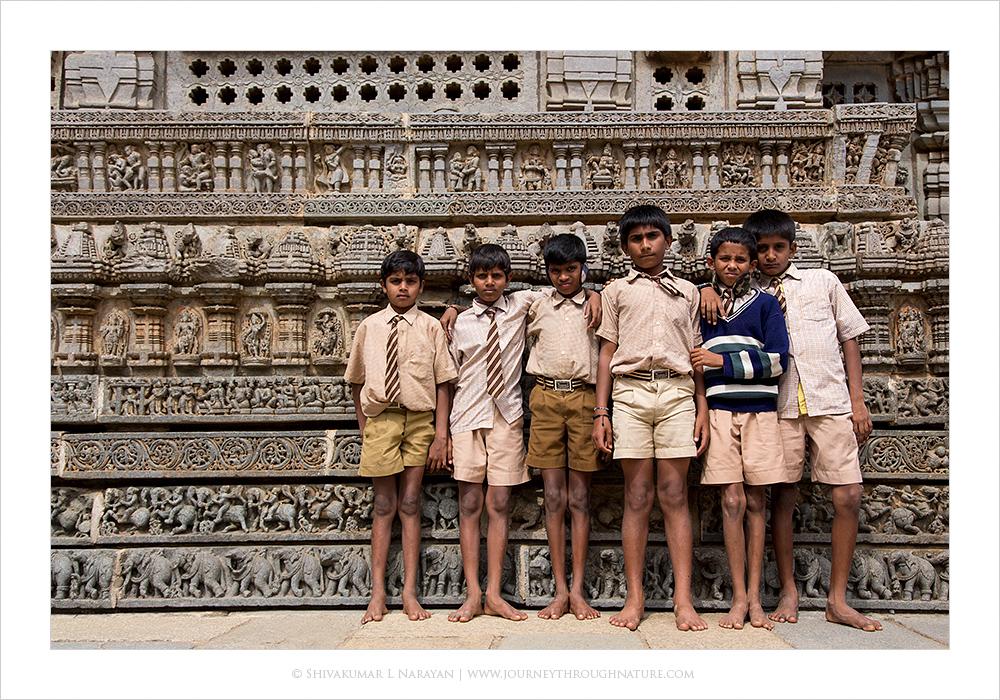 School children at Somanatheshwara temple, Mysore